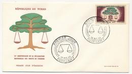 TCHAD => Enveloppe FDC - XVeme Anniversaire Déclaration Universelle Des Droits De L'Homme - 10 Dec 1963 - Fort Lamy - Tschad (1960-...)