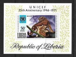 LIBERIA 1971 UNICEF-TIGRE YVERT N°B56  NEUF MNH** - Big Cats (cats Of Prey)