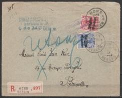 """L. Recommandée Affr. N°OC3+OC4 Càd MONS """"1D /30 XI 1915/ BERGEN 1D"""" Pour BRUXELLES Réexpédié - Cachet Censure Militaire - [OC1/25] General Gov."""