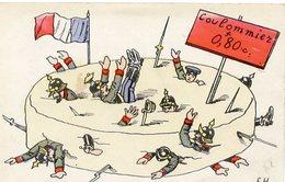 77 COULOMMIERS - Soldats Allemands Dans Le Fromage - Carte Humoristique Dessinée, Signée EH - Coulommiers