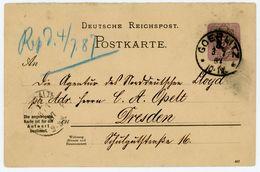"""""""GOERLITZ * *"""" 1887 Klarer K 1 Postkarte An Den Norddeutschen Lloyd Dresden - Allemagne"""