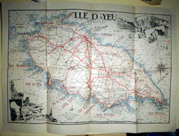 85 ILE D'YEU CARTE ANCIENNE DE L'ILE AVEC SES ROUTES CAPS VILLES VILLAGES COURBES NIVEAU 1938  37 X 27 TRES BEL ETAT - Cartes Topographiques