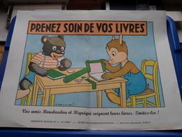 """PRENEZ SOIN DE VOS LIVRES > Edit.: ROUDOUDOU-RIQUIQUI Paris ( Affichette Murale N° 2 """" LE SOIN """" > Voir Photo Svp ) - Affiches"""