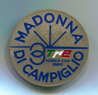 Ski Skiing Jumping - FIS Alpine Ski 1980. World Cup MADONNA DI CAMPIGLIO Italy , Vintage Pin, Badge, Abzeichen, D 35 Mm - Winter Sports