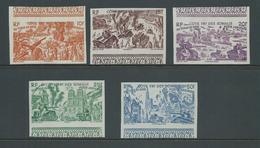 Somali Coast 1946 Du Tchad Au Rhin Part Set Of 5 10 Fr To 50 Fr Imperforate Marginal MNH - Nuevos