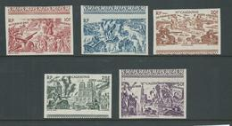 New Caledonia 1946 Du Tchad Au Rhin Part Set Of 5 10 Fr To 50 Fr Imperforate Marginal MNH - New Caledonia