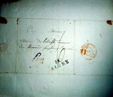 17 AIGRE CACHET POSTAL  ET TAMPON   SUR LETTRE EXPEDIEE AU COMTE DE LA BISSE 1805 - Marcophilie (Lettres)