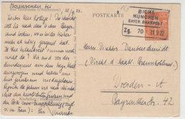 BAHNPOST Bichl München Bayer. Bahnpost Zg. 70 11.9.22 Nach Dresden - Deutschland