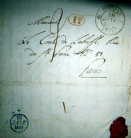 78 HOUDAN   CACHET POSTAL  ET NOMBREUX TAMPONS  SUR LETTRE EXPEDIEE AU COMTE DE LA BISSE 1831 - Postmark Collection (Covers)