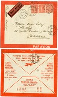 GIRONDE ENV 1928 BORDEAUX SUPERBE ENVELOPPE LETTRE AVION POUR MAROC CASABLANCA VERSO TARIFS FRANCE MAROC . - Maroc (1891-1956)