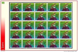 Zaire 0837** 1k  Y&T 837 -  Sheet / Ensemble De 25 Timbres - Football Munich  MNH - Zaïre