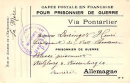 CARTE POSTALE EN FRANCHISE POUR PRISONNIER DE GUERRE - VIA PONTARLIER - Guerre 1914-18