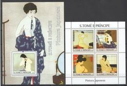 Y040 2004 S.TOME E PRINCIPE ART PINTURA JAPONESA 1KB+1BL MNH - Künste
