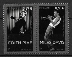 France 2012 N° 4671/4672 Neufs En Paire Edith Piaf Et Miles Davis à La Faciale - Neufs