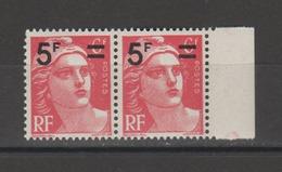 FRANCE / 1949 / Y&T N° 827 ** : Gandon Surchargé 5F X 2 En Paire - Gomme D'origine Intacte - France