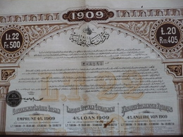 TURKEY /  TURQUIE    IMPERIAL OTTOMAN GOVERNMENT : OBLIGATION /  BOND  £ 20   4 % LOAN 1909 - Shareholdings