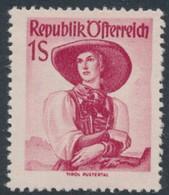 AUSTRIA / ÖSTERREICH - 1950 1S Carmine-red Regional Costumes Definitive, MNH – Michel # 911 - 1945-60 Unused Stamps