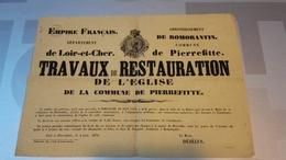 Pierrefite (Sur Sauldre). Très Belle Affiche De 1870. Travaux Sur L'Eglise. - Affiches