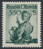AUSTRIA / ÖSTERREICH - 1951 3.50G Dark Grey-green Regional Costumes Definitive, MNH – Michel # 923 - 1945-60 Unused Stamps