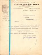 Factuur Facture - Manufacture De Couleurs & Vernis - Les Fils Lévy - Finger - Celluco - Lille 1933 - France