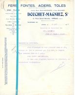 Factuur Facture - Fers Fontes Douchet - Magniez - Arras 1935 - France