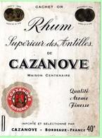 Etiquette Rhum Supérieur Des Antillesde Casanove, Bordeaux, Médaille D'Or Paris - Rhum