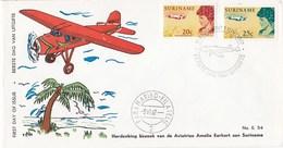 Suriname - FDC E54 - Bezoek Aviatrice Amelia Earhart Aan Suriname - NVPH 477 - 478 - Suriname ... - 1975