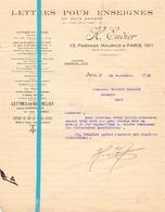 Factuur Facture - Lettres Pour Enseignes - H. Eudier - Paris - 1929 - France
