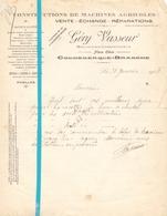 Factuur Facture - Constructions De Machines Agricoles - Géry Vasseur - Coudekerque Branche - 1928 - France