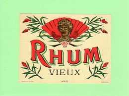 Etiquette Rhum Vieux, N° 475, Visage Femme  Créole - Rhum
