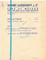 Factuur Facture - Fers & Metaux - Henri Lussigny & Cie - Valenciennes - 1934 - France