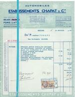 Factuur Facture - Automobiles Etabl. Chapat & Cie - Beziers - 1934 - France