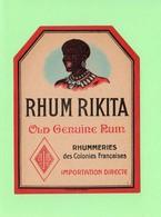 Etiquette Rhum Rikita, Old Genuine Rum, Rhummeries Des Colonies Françaises, Visage Femme  Créole - Rhum