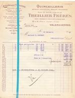 Factuur Facture - Quincaillerie Theillier Frères - Valenciennes - 18 Nov 1942 - France