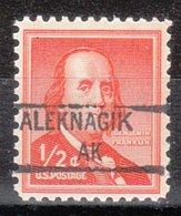 USA Precancel Vorausentwertung Preo, Locals Alaska, Aleknagik 841 - Vereinigte Staaten