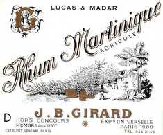 Rare, Etiquette Rhum Martinique, Agricole, Lucas & Madar, J. B. Girard - Rhum