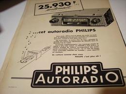 ANCIENNE PUBLICITE AUTORADIO  PHILIPS 1958 - Music & Instruments