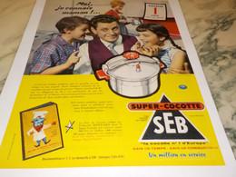 ANCIENNE AFFICHE  PUBLICITE SUPER COCOTTE SEB 1958 - Publicité