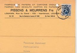 Leuven,Louvain, Carte Publicitaire Pissens & Meurens Frs ,fabriek Van Gegolfd,karton,papieren;papiers Et Cartons Ondulés - Leuven