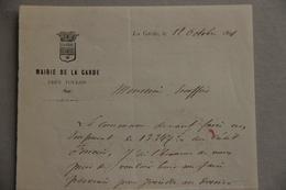 Mairie De La Garde (Var), Lettre Adressée Au Percepteur Escoffier Au Sujet D'un Emprunt Communal, 1891 - Collections