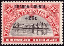 Ruanda 0077 SG  25c Rouge Surchargé 25c - Ruanda-Urundi