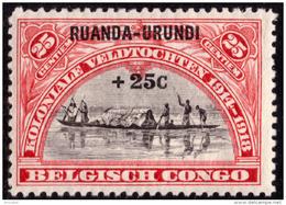 Ruanda 0078 SG  25c Rouge Surchargé 25c - Ruanda-Urundi