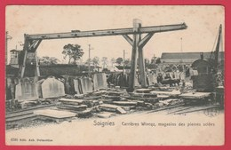 Soignies - Carrrières Wincqz, Magasins De Pierre Sciées - 1908 ( Voir Verso ) - Soignies