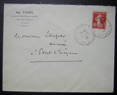 Deauville (Calvados) 1915 Am. Vassel Architecte Expert, Lettre Pour Pont L'évêque - Postmark Collection (Covers)