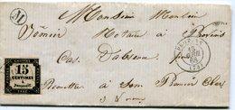 SEINE ET MARNE De SAINT HILLIERS LAC Du 13/04/1868 Boîte Rurale M + Timbre Taxe N°3 Oblitéré à PROVINS - Marcofilia (sobres)