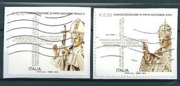 2014 CANONIZZAZIONE PAPA GIOVANNI SERIE COMPLETA USATO - 6. 1946-.. Repubblica