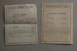 Bibliothèque Municipale De Toulon (Var), Demandes De Livres, Vers 1940 - Collections