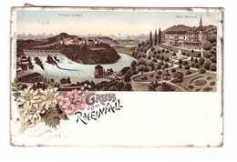 Suisse Gruss Vom Rheinfall + Timbre Cpa Carte Ambulant N°37 1902 Cachet Rouge Hotel Bellevue Belle Vue Karl Lang - SH Schaffhausen