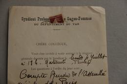 Syndicat Professionnel Des Sages-Femmes Du Var, Réunion 1932 - Collections