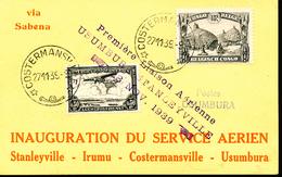 BELGIAN CONGO  AIR FIRST FLIGHT FROM COSTERMANSVILLE 27.11.39 TO USUMBURA - Congo Belge
